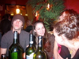 Copious amounts of wine were drunk at Belly bar. Sarah Gliko, Eve Udesky.