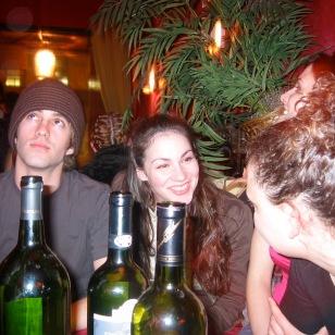 Copious amounts of wine were drunk at Belly bar. Sarah Gliko, Eve Udesky.